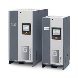 Side view of two Atlas Copco GA rotary screw compressors
