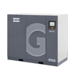 Grey Atlas Copco GA 30-90 rotary screw air compressor unit with G on front