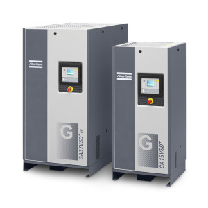 Pair of grey Atlas Copco GA 7-15 air compressors with variable speed drive