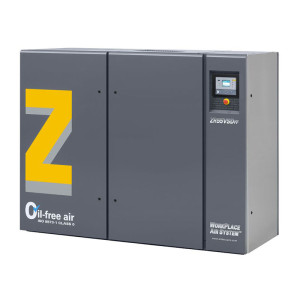 Angled photo of an Atlas Copco ZR 55 VSD oil-free rotary tooth compressor