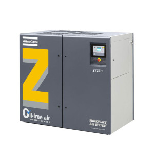 Angled view of grey Atlas Copco ZT 15-22 oil-free rotary tooth compressor