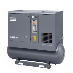 Horizontal model of grey Atlas Copco GX series air compressor unit