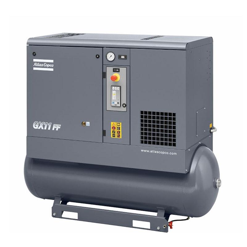 Horizontal model of grey Atlas Copco GX series air compressor unit