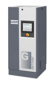 Side view of grey Atlas Copco variable speed drive air compressor